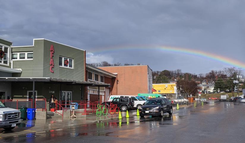 AFAC building with rainbow