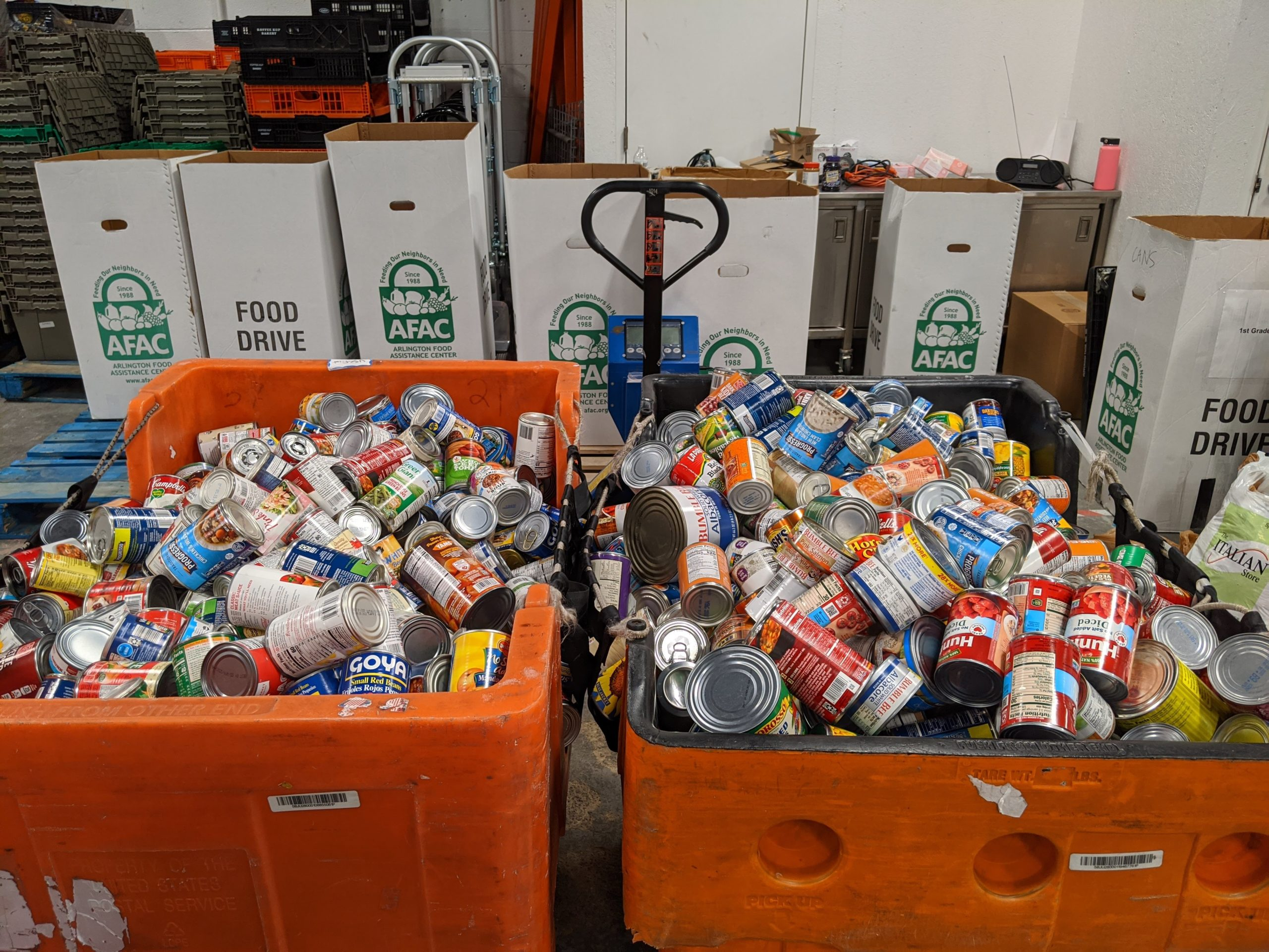 carts and boxes full of food donations